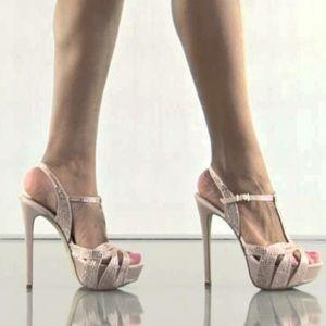Steve Madden Platform Sparkly Nude Heels Prom 8.5